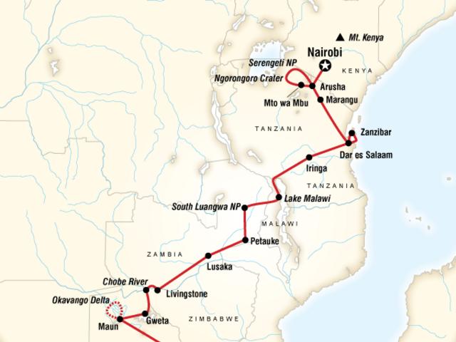 Falls, Beaches & Serengeti Adventure (Northbound)