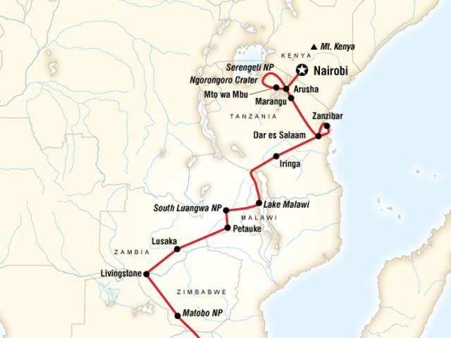 Falls, Beaches & Serengeti Adventure (Southbound)