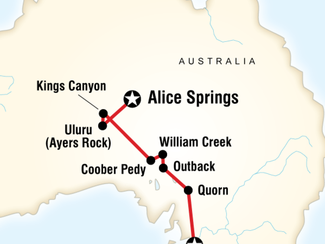 Outback to the Red Centre–Adelaide to Alice Springs