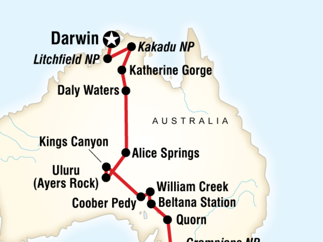 Australia South to North–Melbourne to Darwin