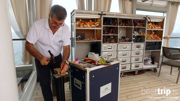 There's a Cobbler Hand-Making Italian Sandals on this Ship
