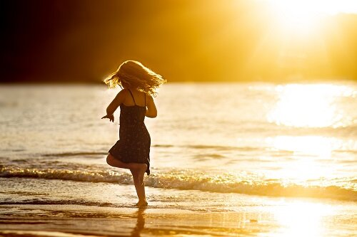 Running on a tropical beach