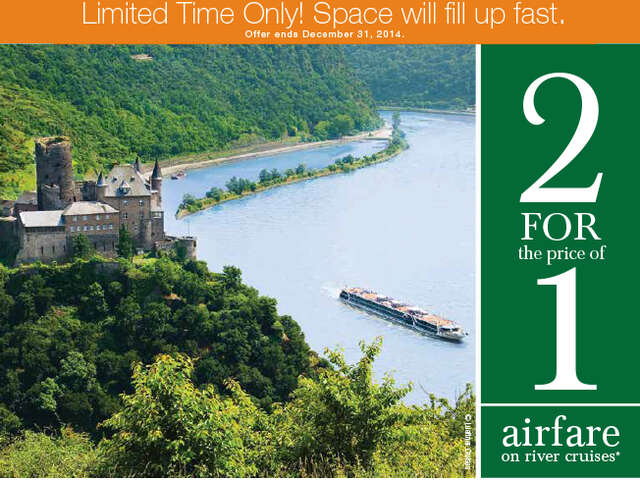 2 for 1 airfare on River Cruises