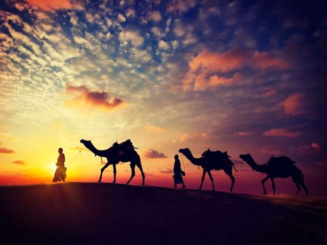 Enjoy a camel ride while the sun sets in Broome, Australia