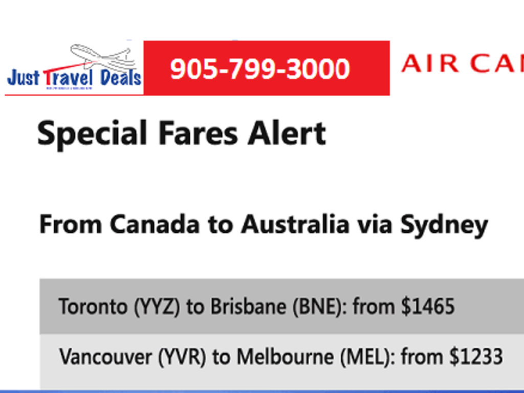 Special Fares Alert Air Canada Flights To Brisbane And Melbourne From Montreal Or Toronto