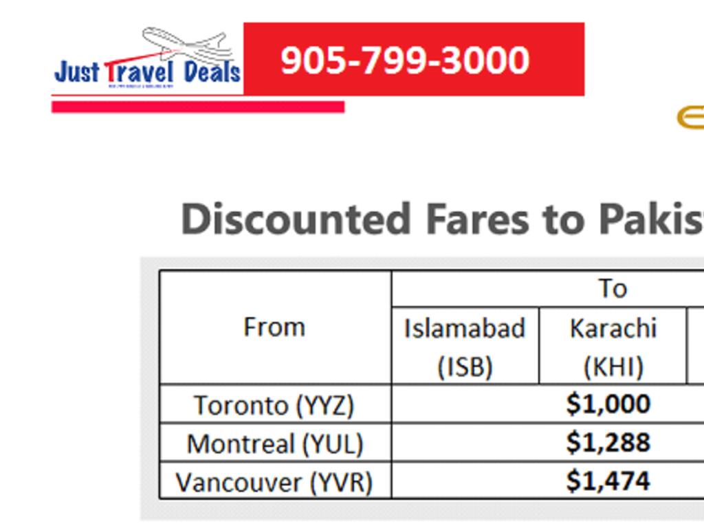 Special Flight Fares Alert To Islamabad Karachi Lahore