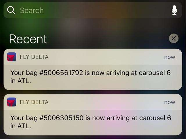 Fly Delta app push notifications take stress out of checking a bag