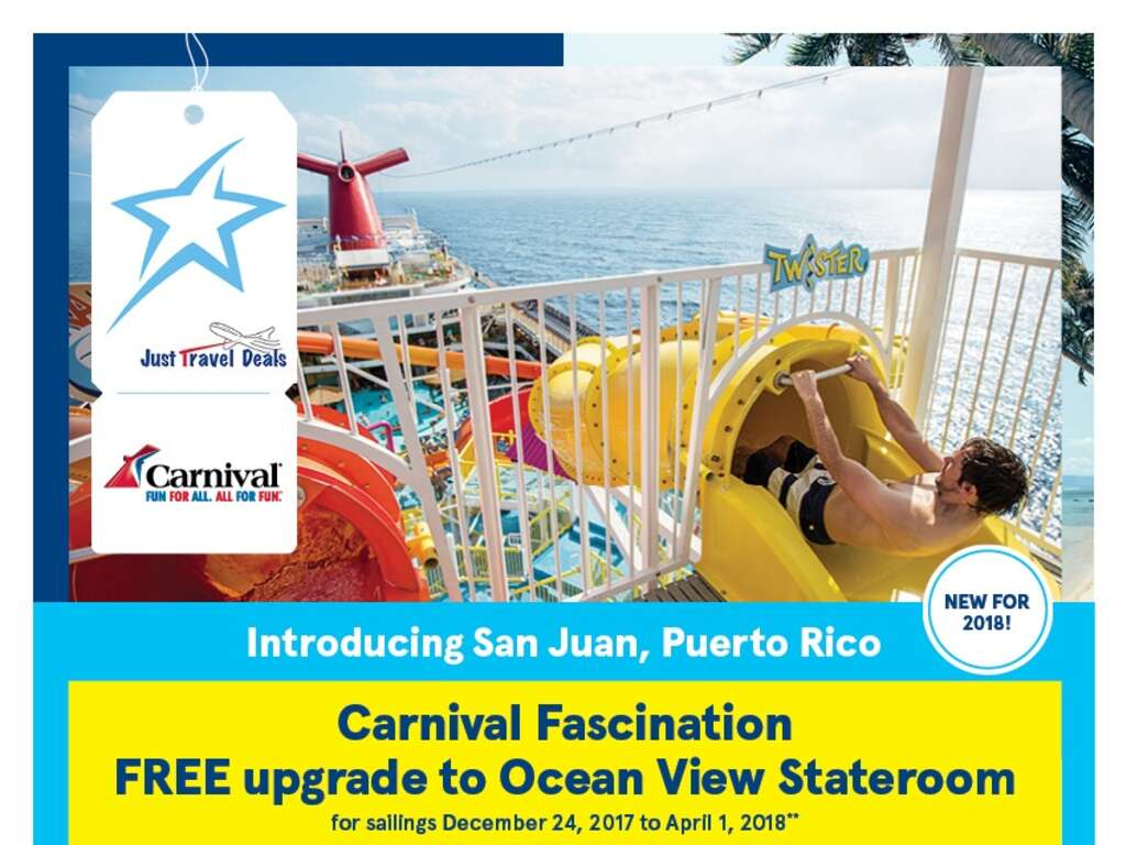 New San Juan Carnival Fascination Cruise Free Cabin Upgrade