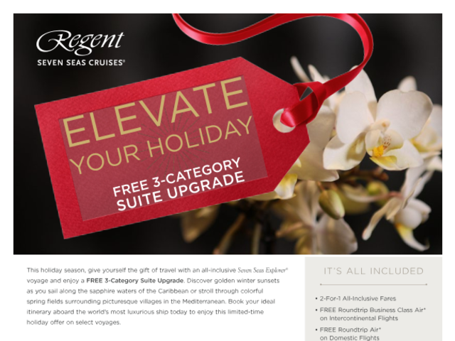 Regent Luxury Cruise Holiday Sale