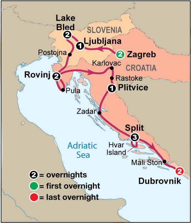 Explore Croatia & the Dalmatian Coast Map