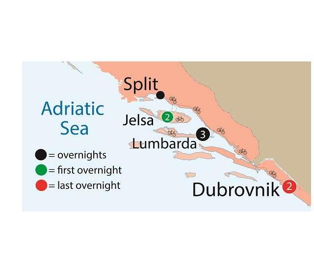 Cycling the Dalmatian Coast Map