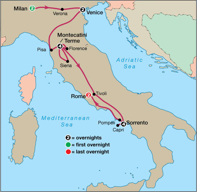 Treasures of Italy Map