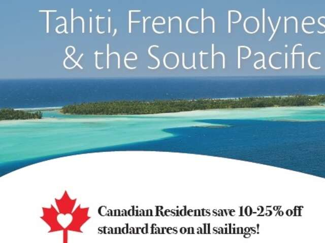 Tahiti, French Polynesia & the South Pacific 2018 - 2019 Cruise Schedule