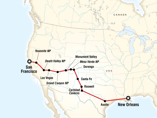 San Francisco to New Orleans Road Trip