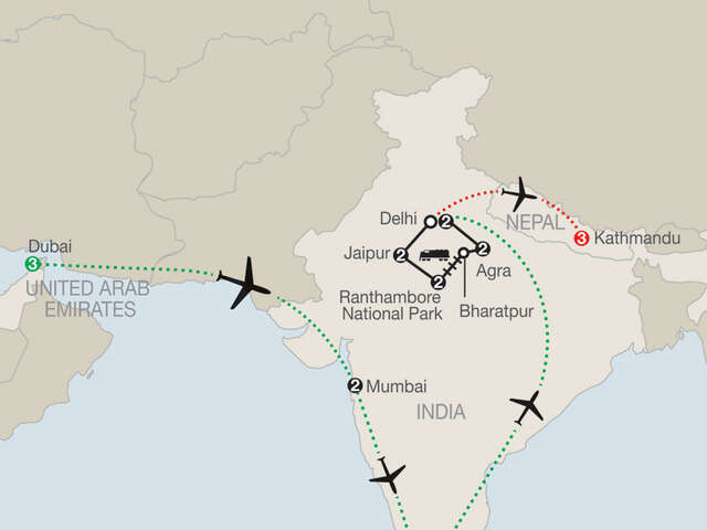 Icons of India: The Taj, Tigers & Beyond with Dubai, Southern India & Nepal