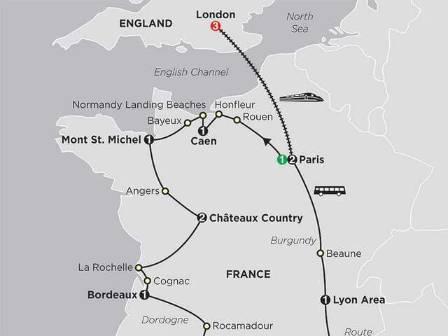 Grand Tour of France with extended Stay in London