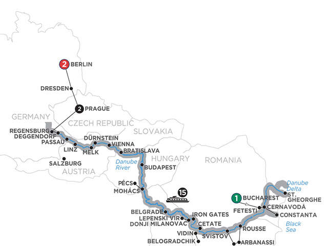 From the Danube Delta to Prague with 2 Nights Berlin