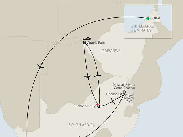 Splendors of South Africa & Victoria Falls with Dubai