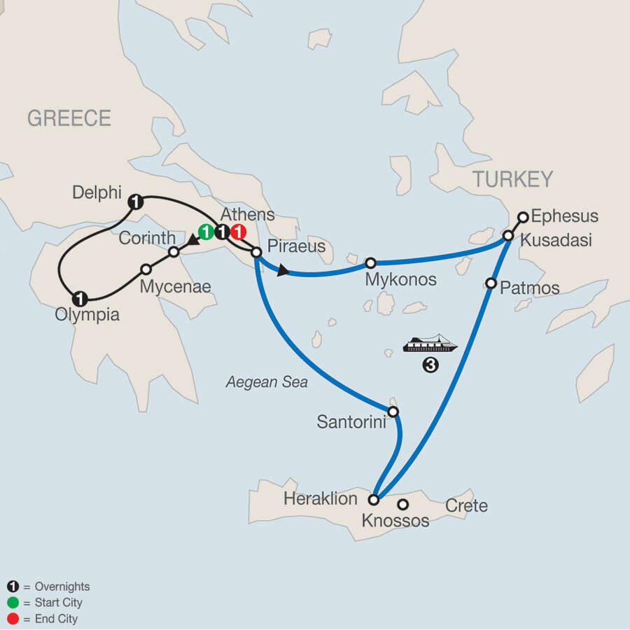 Greek Escape with 3-Night Iconic Aegean Cruise